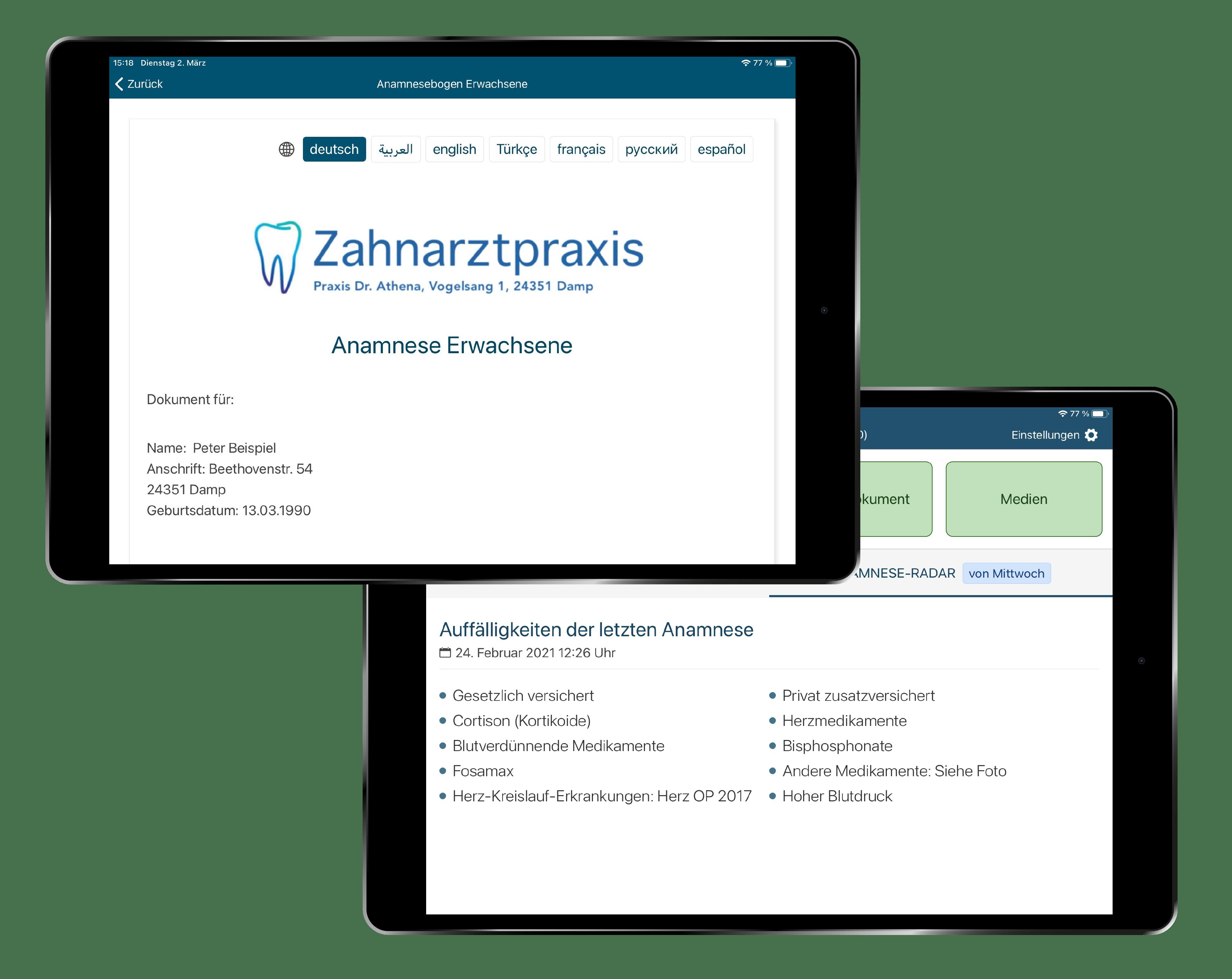 Digitale Anamnese mit der Athena-App. Patientenaufklärung beim Zahnarzt.
